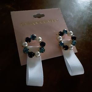 Catherine Malandrino Gem Pearl Ribbon Earrings